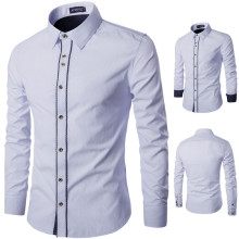Brand New Men's Casual Shirt Social Solid Color Striped Shirt Full Sleeve Turn Down Collar