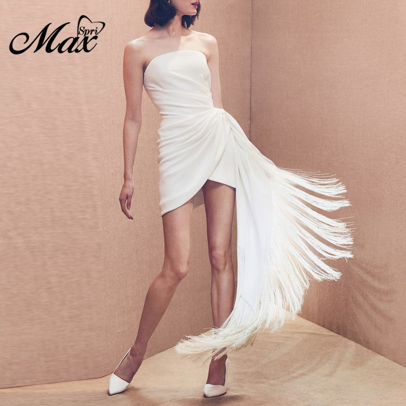 Max Spri <font><b>2019</b></font> New <font><b>Sexy</b></font> Bandeau Strapless Ruched Wrap Fringe White <font><b>Dress</b></font> Women Outfit <font><b>Runway</b></font> <font><b>Mini</b></font> <font><b>Dress</b></font> image