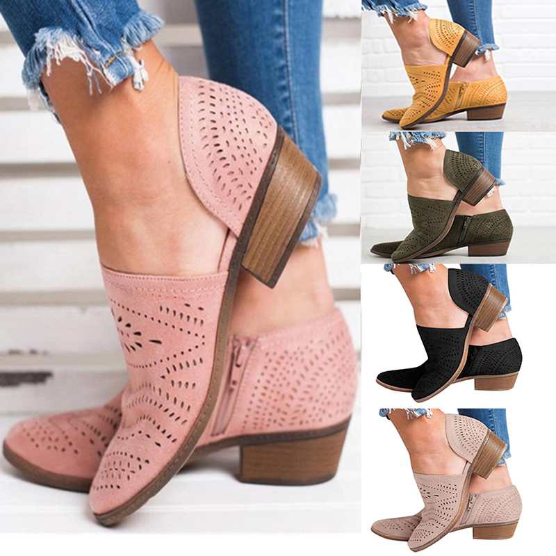 Fretwork Shoes Women Spring Autumn Low Chunky Heel Pointed Toe Side Zip Pumps Short Ankle Sandals Hollow Out Retro Shoes