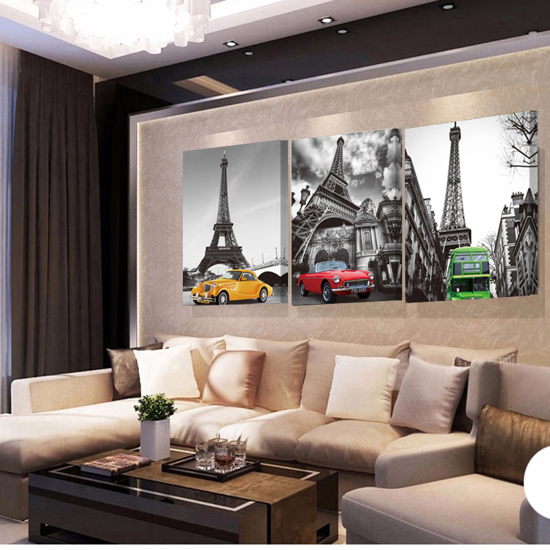 3 piece landscape art modern paintings tower car wall - Modern wall decor for living room ...