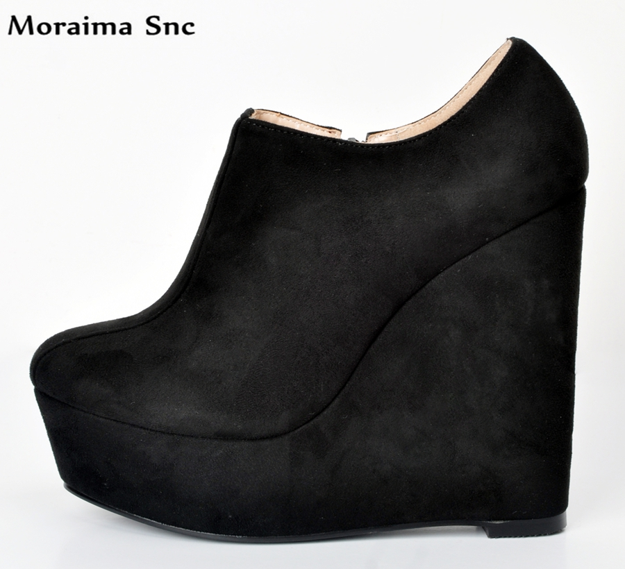 Moraima Snc concise type high platform round toe slip-on Flock Wedges Ultra-high heel for chic women casual pumps concise flock and round toe design pumps for women