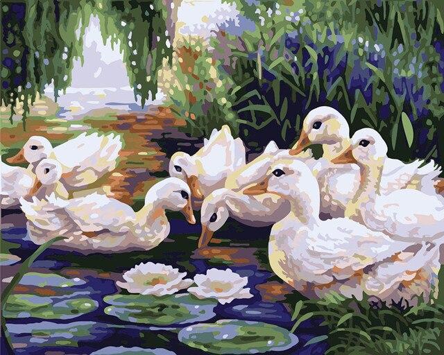 Menggambar Lukisan Dengan Angka Sekelompok Bebek Diy Minyak Lukisan