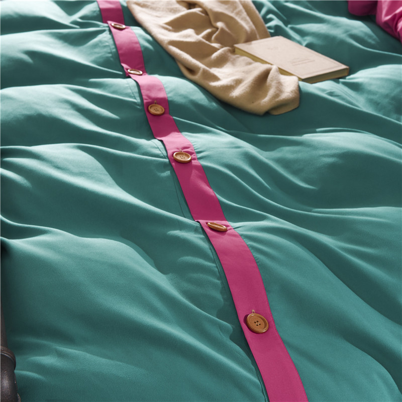 Fashion Ink Green + Pink AB Layout Duvet Cover Set Single Double Twin/Queen 4pcs Bedding Sets Themed Bed Linen Super Soft Warm