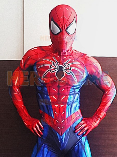 60fab368ce Newest Red Blue Spiderman Costume Spandex Print Tight Spiderman Cosplay  Costume Custom Made