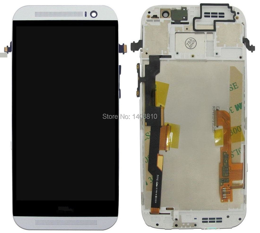 Original for HTC One M8 LCD Screen Display Front Housing Touch Digitizer + Frame Assembly + Top and Bottom Cover Case Silver high quality silver for htc one m7 lcd display touch digitizer screen frame back door battery cover case housing