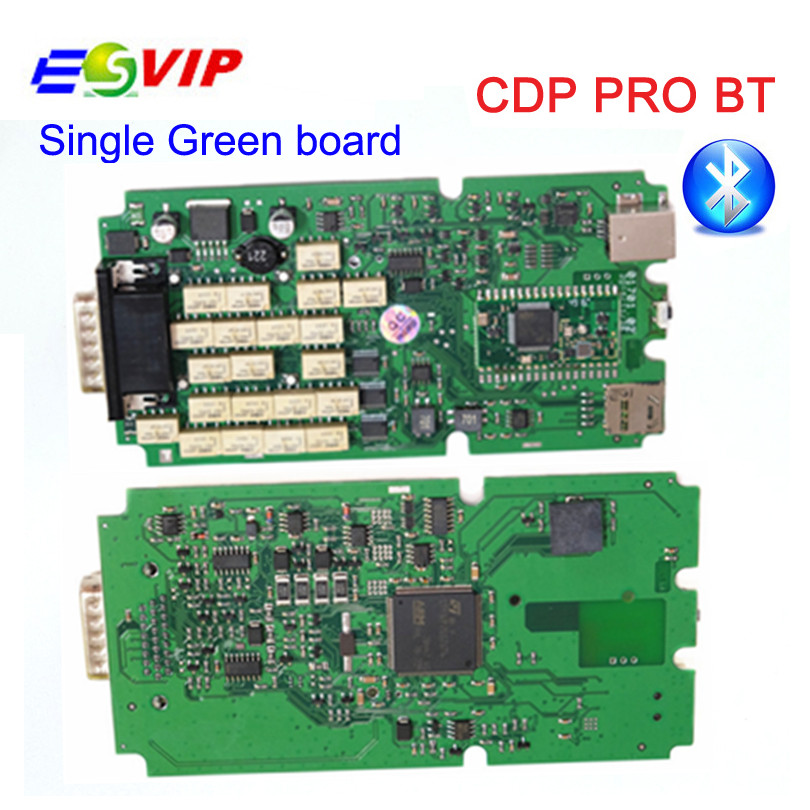 A+++  Quality Single green board TCS CDP  With Bluetooch 2014.R2/2015.R3  For Cars/Trucks Diagnostic Scan Tool 5 psc lot diagnostic tool connect cable adapter for tcs cdp plus pro obd2 obdii truck full 8 trucks cables for cdp by dhl free