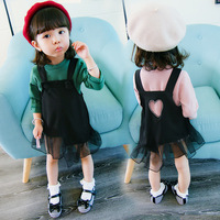 2017 Autumn style baby girls cotton long sleeve t shirts +lace lovel strap dress 2pcs set infant princess casual clothes 17A801