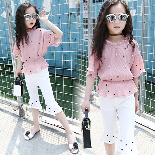 2018 Summer Pink Red Girls Clothing Sets 5 6 7 8 9 10 11 12 13 12 13 14 Kids Shirts + Pants 2pcs Teenage Baby Girls Clothes Sets pink and red children sets baby girls