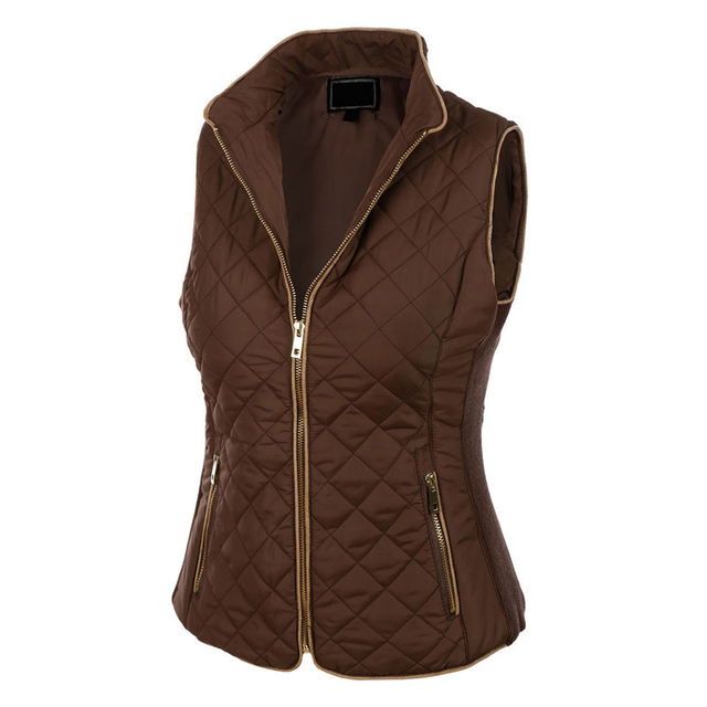 2017 Women Spring Autumn Waistcoats Length Jacket Thick Cotton Coat Warm Womens Jacket Quilted Sleeveless Puffer Vest Female