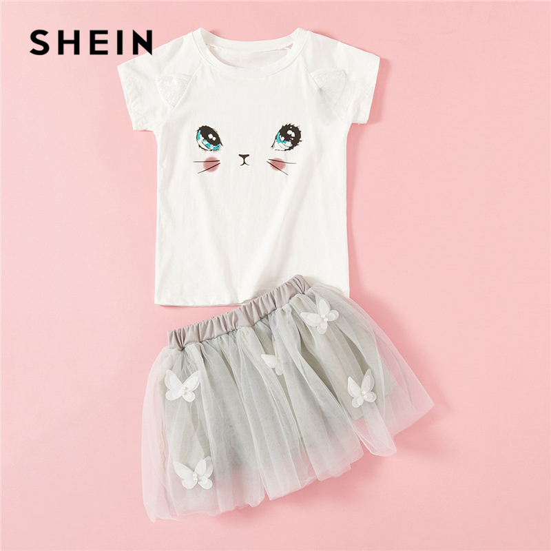 SHEIN Kiddie Toddler Girls Preppy Cartoon Print Short Sleeve Tee And Mesh Skirt Girl Set 2019 Summer  Casual Kids Clothes shein kiddie white cartoon print casual t shirt toddler girl tops 2019 spring fashion short sleeve girls shirts kids tee