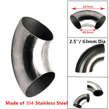 2.5 inch 63mm Car Exhaust Pipe Stainless Steel 90 Bend Elbow Tube 1.5mm Thick 76mm 90 degree tight stainless exhaust mandrel bend tube pipe bend high quality 201 stainless steel