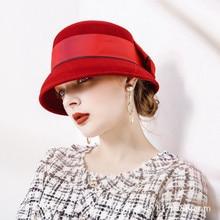 Bucket-Hat Flower-Hats Fedora-Cap Flat-Top-Bonnet Wool Elegant Girls Women Ladies B-8878