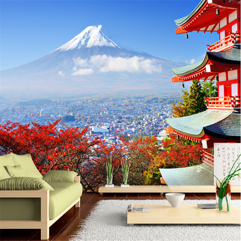 beibehang papel de parede photo wallpaper Fuji Japanese flag landscape modern bedroom TV wall entrance wall mural wall paper