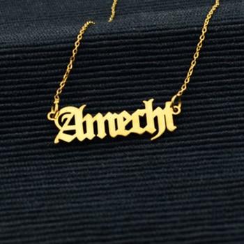 998d291305d7 Moda personalizada personalizado inglés antiguo nombre colgante letra del  alfabeto encanto de acero inoxidable collares de cadena de chico de  cumpleaños ...