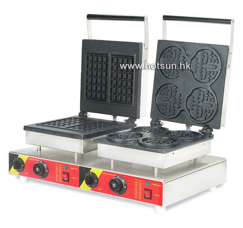 Free Shipping Commercial Non-stick 110V 220V Electric 2 in 1 Belgium Waffle + Bear Shape ...