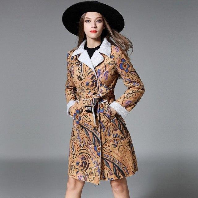 Дамы Замши Пальто 2016 Пальто Для Женщин Мода Печать Тепло Верхней Одежды Высокого Класса Атмосфера