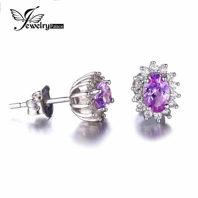 JewelryPalace Oval 2.5ct Alejandrita Sapphire Stud Pendientes Para Las Mujeres 925 Princesa Diana William Joyería Fina