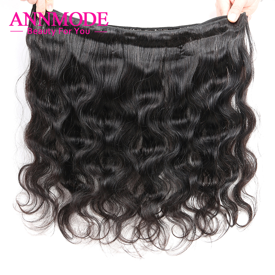 Annmode Hair 1/3/4 Bundles Peruvian Body Wave Hair Natural Color Non - Menneskehår (sort) - Foto 5