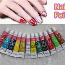 6 мл 12 цветов акриловый набор для ногтей краски s 3D дизайн ногтей советы краски инструменты Ongle украшения лак для ногтей кисть