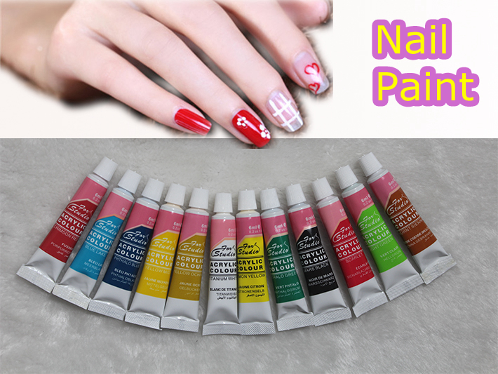 6 ML 12 Color Acrylic Nail Kit Paints 3D Fingernail Art Designs Tips Paint Tools Ongle Decorations Nail Varnish Free Brush