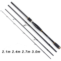 TOMA Spinning casting Fishing Rod 100% Carbon Fiber 2.1m 3.0m 4 Section M Lure Rods Fast Action Pesca Travel Rod Fishing Tackle