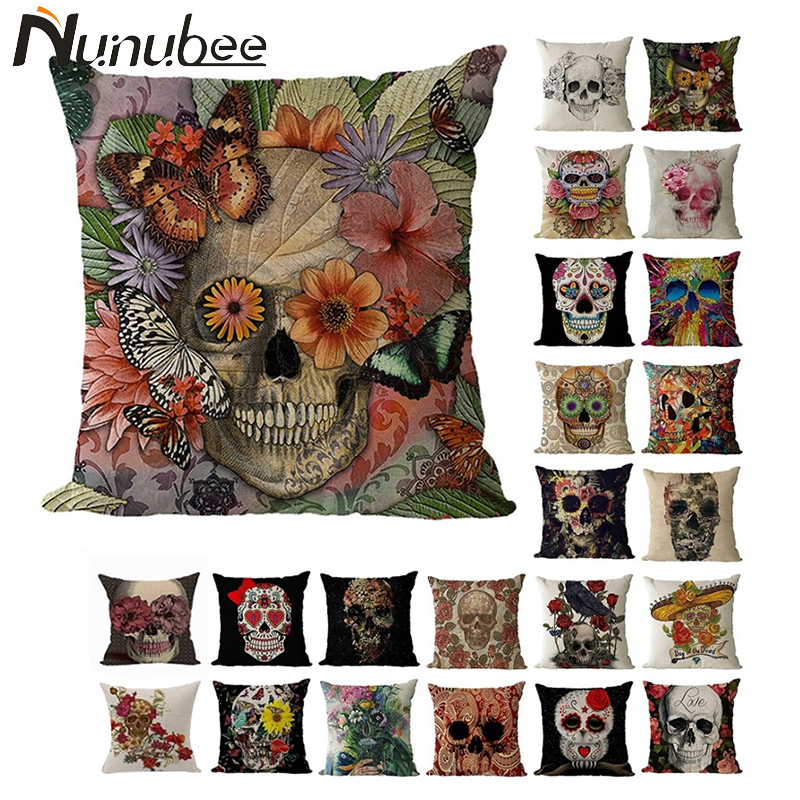 Nunubee Pillow case Punk Bohemia Paisley Skull Cushion Cover Cotton Linen Printed Throw Pillows Decorative Cojines 45*45CM