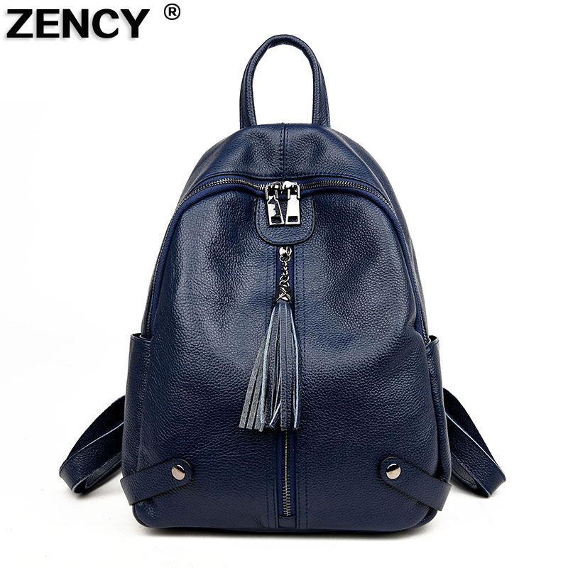 ZENCY 100% Real Genuine Leather Women Backpacks Korean Style Design Ladies Travelling Backpack Cowhide School ipad Bags Casual zency genuine leather backpacks female girls women backpack top layer cowhide school bag gray black pink purple black color