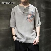 2019 chinese style men shirt half sleeve solid casual cotton streetwear men shirt man kimono shirt men clothes