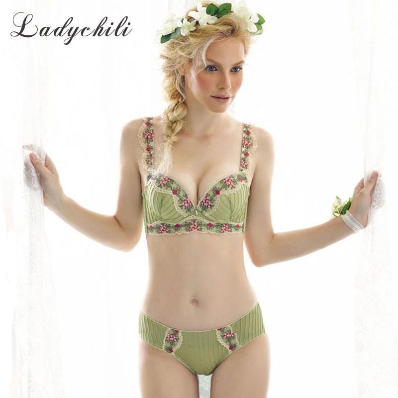 Ladychili Young Girl Underwear Bra Set Plaid Women Brassiere Set Cotton Comfort Women Underwear Bra Sets Langerie Conjunto N49