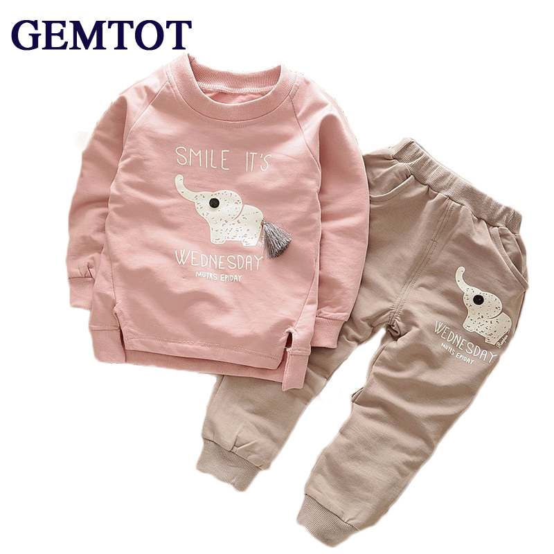GEMTOT Baby Boys Sets 2017 New Autumn Autumn Baby Children Boys Girls Cartoon Elephant Cotton Clothing Sets T-Shirt+Pants Suit 2017 new cartoon pants brand baby cotton embroider pants baby trousers kid wear baby fashion models spring and autumn 0 4 years