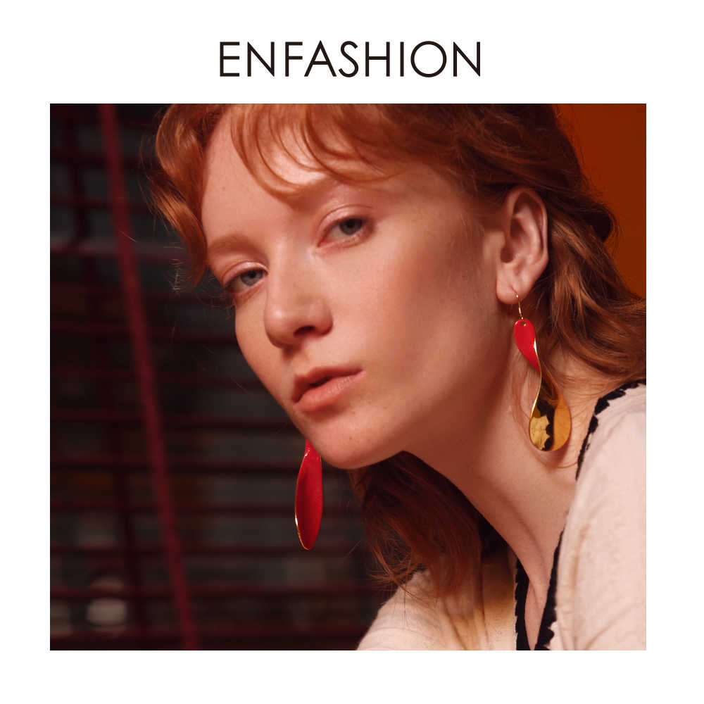 Enfashion Red Twist Drop Earrings For Women Gold Color Big Long Statement Dangle Earings Fashion Jewelry 2019 Oorbellen EC191017