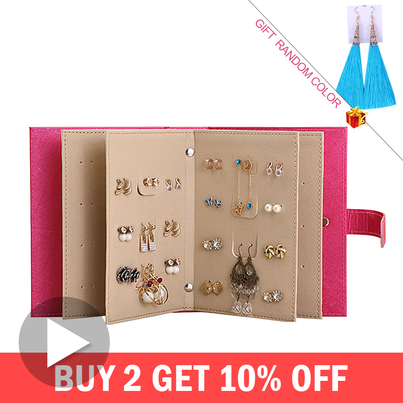 PU Leather Makeup Organizers Portable Fashion Women Earrings Collection Necklace Jewelry Book Display Box Organizer Accessories(China)