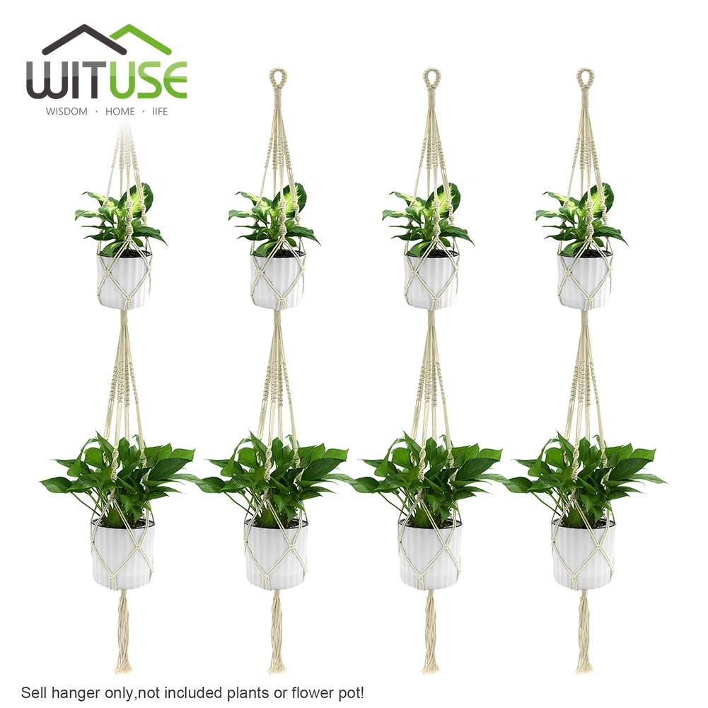 Wituse 4pcs 2 deck handmade cotton pot holder simple macrame rope hanging plant hangers flower - Suspension pot de fleur macrame ...