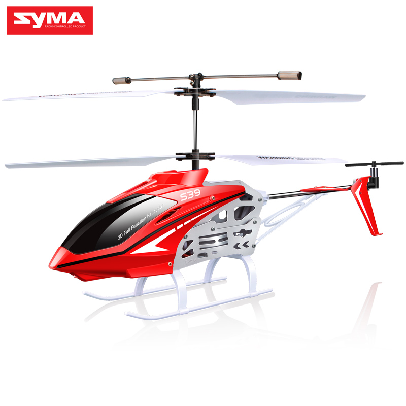SYMA Original S39 2.4GHz 3CH RC Helicopter with Gyro Led Flashing Aluminum Anti-Shock Remote Control Toy Kids Gift Red/White игрушка syma s39g red