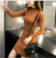 Women Winter Dresses Black Red Warm Sweater Turtleneck Long Sleeve Skinny Split Pencil Knitted Office Dress