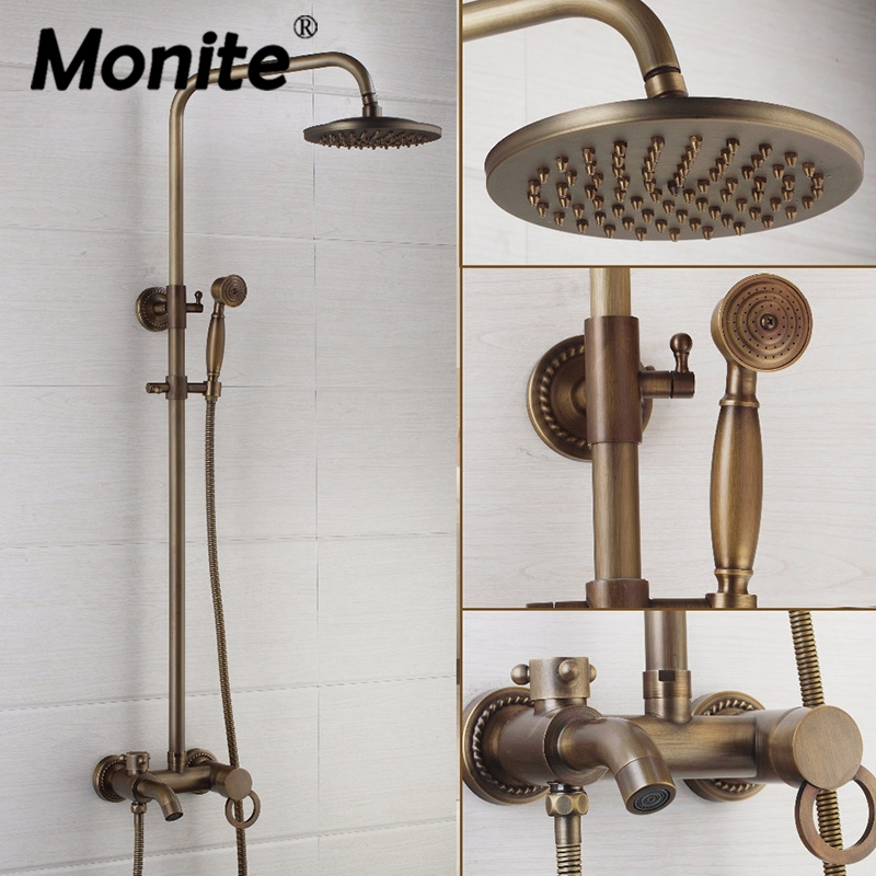 Monite New 8 Inch Rainfall Shower Head Antique Brass Wall Mounted Bathroom 3 Functions Hand Shower