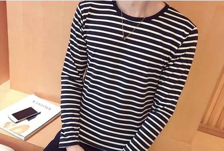 原宿ストライプ Tシャツ 2019 メンズカジュアル Tシャツ長袖秋のヒップホップ Tシャツストリートカジュアル Tシャツブラックホワイトトップス