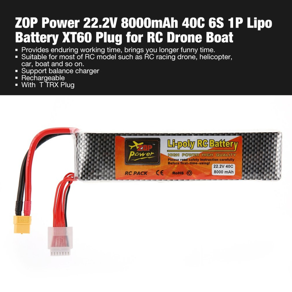 ZOP Power 22.2V 8000mAh 40C 6S 1P Lipo Battery XT60 Plug Rechargeable for RC Racing Drone Quadcopter Helicopter Car Boat Model zop power 7 4v 8000mah 2s 40c lipo battery rechargeable for trx plug connector battery alarm indicator traxxas rc multicopter