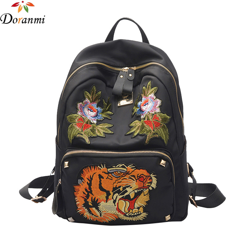 DORANMI Luxury Brand Design Fashion Backpack 2017 New Embroidery Hot Black School Bag Large Capacity Backpacks