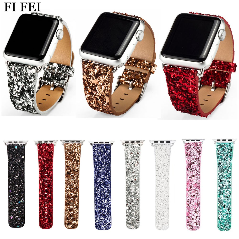 FI FEI Bling Glitter Powder Leather Watch Band for Apple Watch 38mm 42mm Wristwatch Strap Bracelet Series 1/2/3 Christmas Shiny