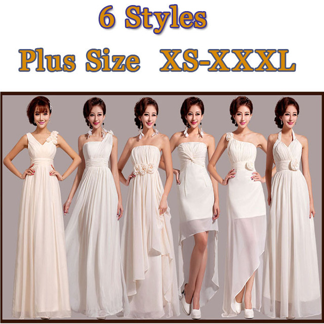 e4ba65516da Free Shipping 6 Designs Modest Long Bridesmaid Dress White Chiffon Formal  Party Wear Graduation One Piece Plus Size SD203