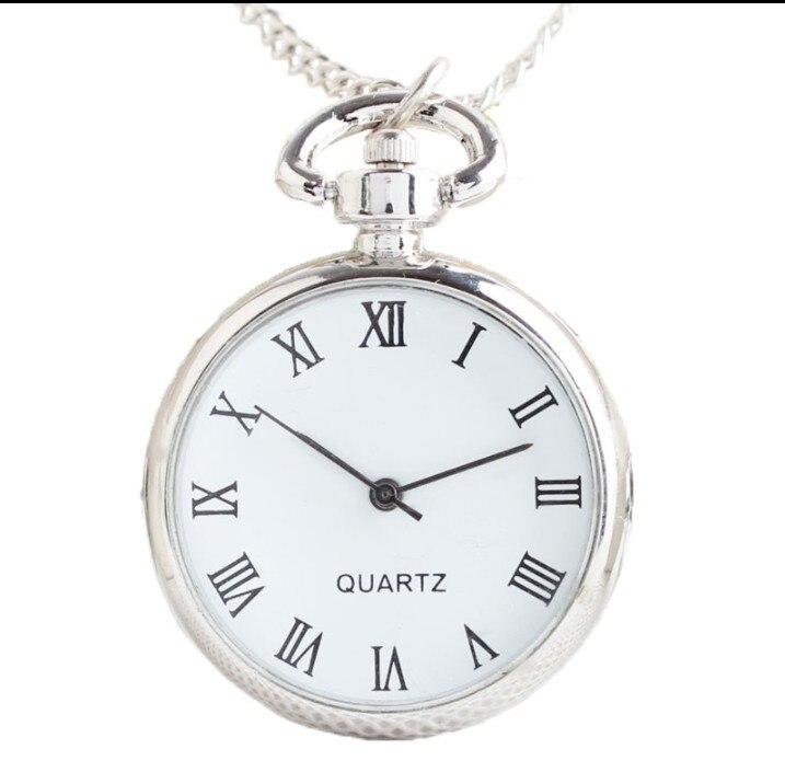 New Fashion Luxury Men Women Business Pointer + Roman Numerals White Quartz Pocket Watch Necklace Pendant With Chain Gifts Watch
