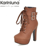 Hot Sale Big Size 33-47 Fashion High Heels Ankle Boots Sexy Platform Zip Up Party Shoes Women Add Fur Winter Autumn