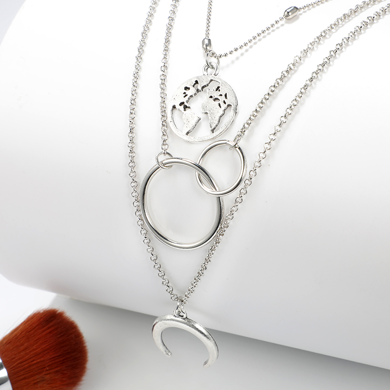 docona Boho Silver World Map Moon Round Pendant Layered Necklace for Women Long Charms Multi Layer Necklaces Collares 6941 6