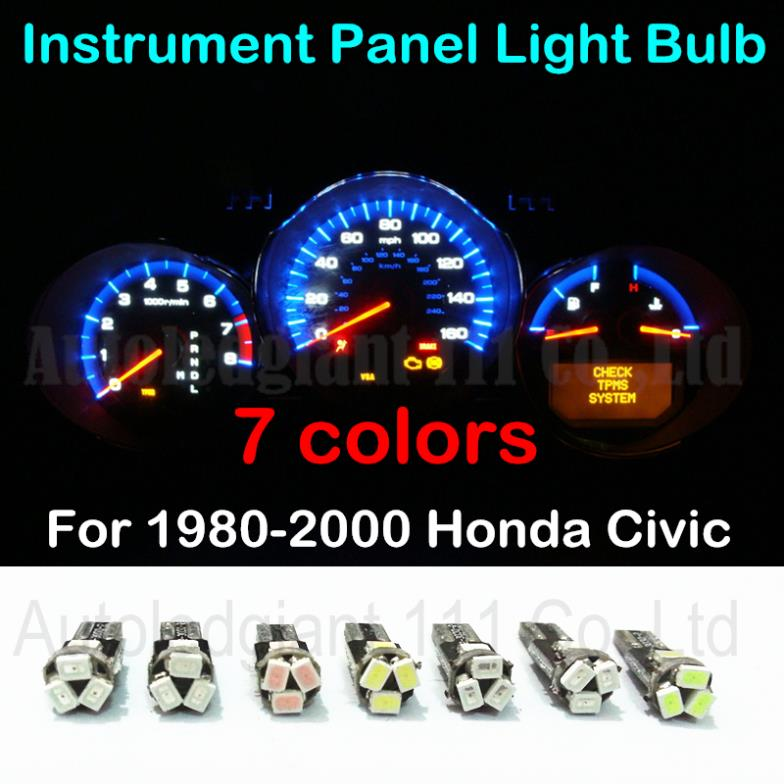 7colors T5 Led Car Light 85 74 37 286 73 Wedge Lamp Dashboard Instrument Gauge Dash Bulb For 1980 2000 Honda Civic