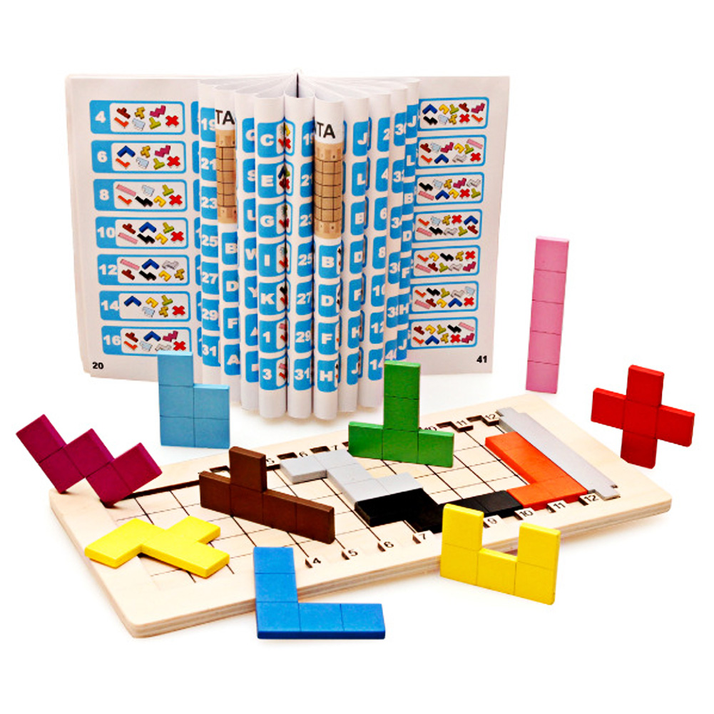 Colorful Wooden Tangram Tetris Game Brain Teaser Puzzle Toys Baby Preschool Magination Early Educational Kids Toy Children Gift 17