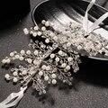 Flor de Plata de época Nupcial Tiaras Crown Encanto Rhinestone Imitación de La Perla Para Las Mujeres de La Boda Diadema Accesorio Para El Pelo Al Por Mayor