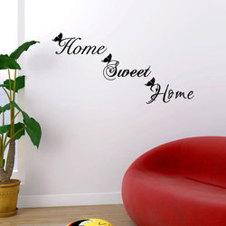 Home Sweet Home Wall Sticker Butterfly English for home decorations Mural art Decals Window cabinet wallpaper door Stickers