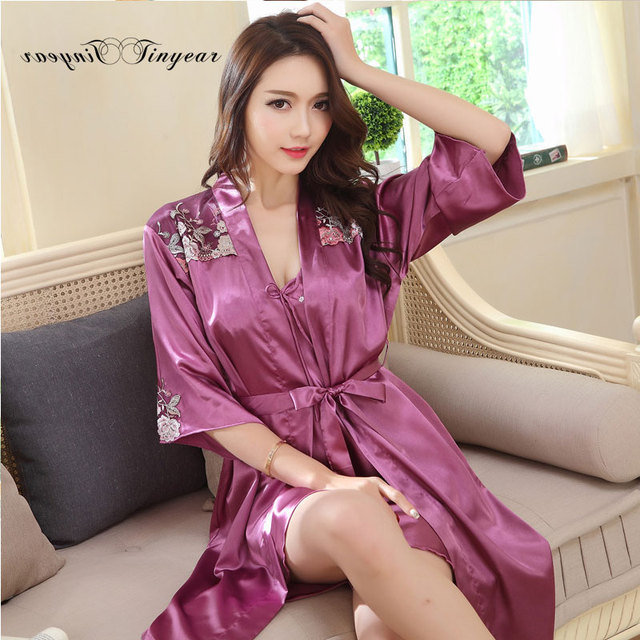 New arrival solid color nightgown robe set three quarter knee-length M-XXL satin women sleepwear robes two-pieces