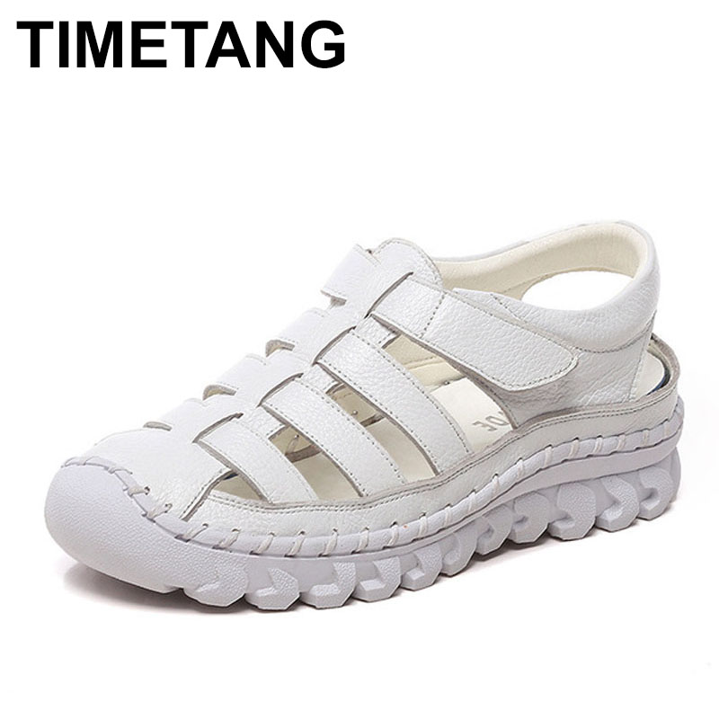 TIMETANG  Women Sandals 2019 Summer Shoes Genuine Leather Covered Toe Soft Casual Walking Zapatos Mujer Plataforma big size 43